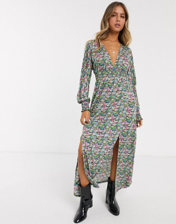 エイソス レディース ワンピース トップス ASOS DESIGN maxi dress with shirred waist in floral print Multi