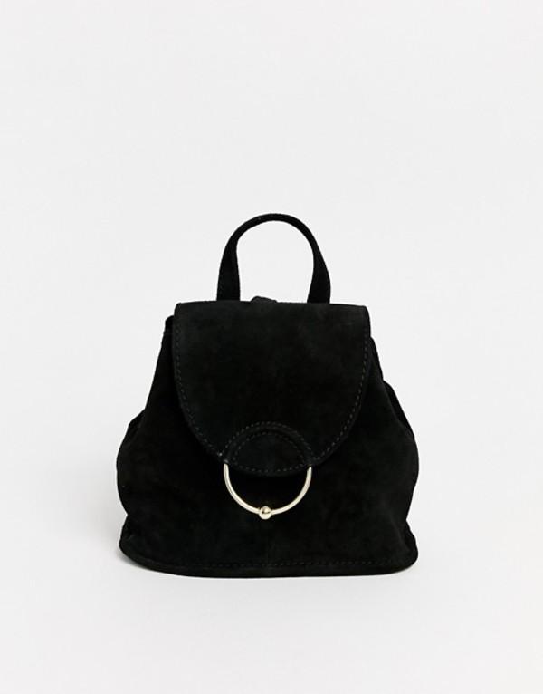 エイソス レディース バックパック・リュックサック バッグ ASOS DESIGN suede mini backpack with ring and ball detail Black
