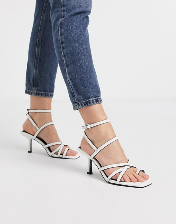 エイソス レディース サンダル シューズ ASOS DESIGN Wide Fit Whittle toe loop mid-heeled sandals in white White