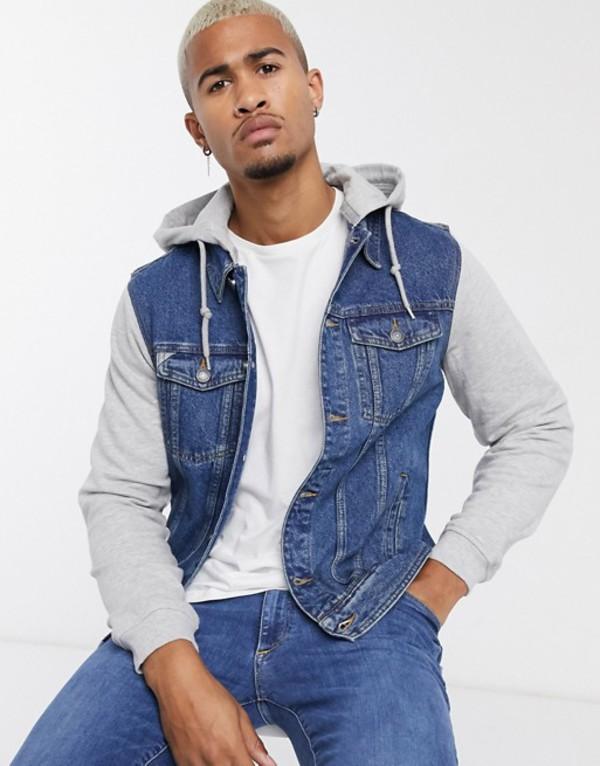 プルアンドベアー メンズ ジャケット・ブルゾン アウター Pull&Bear denim jacket with jersey hood and sleeves in blue Blue