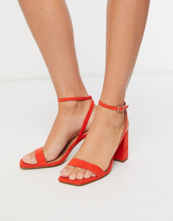 エイソス レディース サンダル シューズ ASOS DESIGN Havana barely there block heeled sandals in red Red