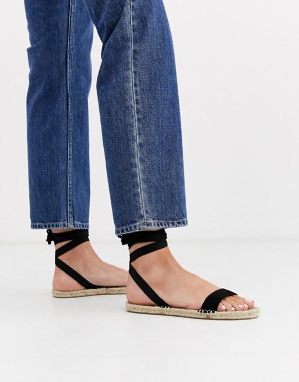 エイソス レディース サンダル シューズ ASOS DESIGN Juniper espadrille flat sandals in black Black