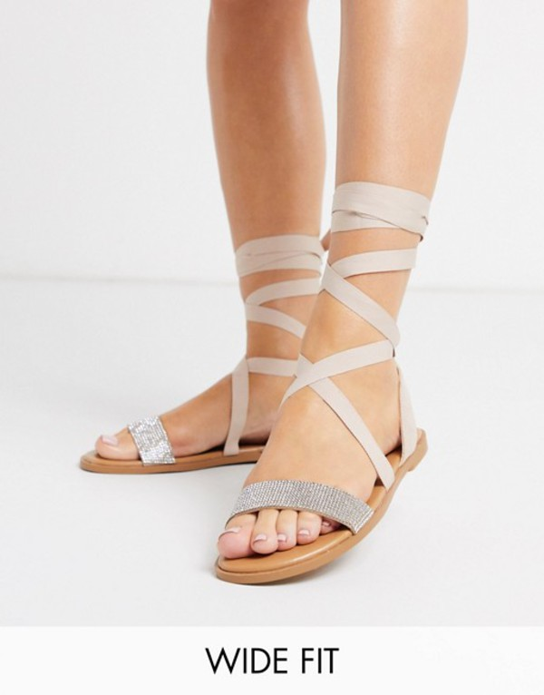 エイソス レディース サンダル シューズ ASOS DESIGN Wide Fit Finland embellished tie leg sandals Beige