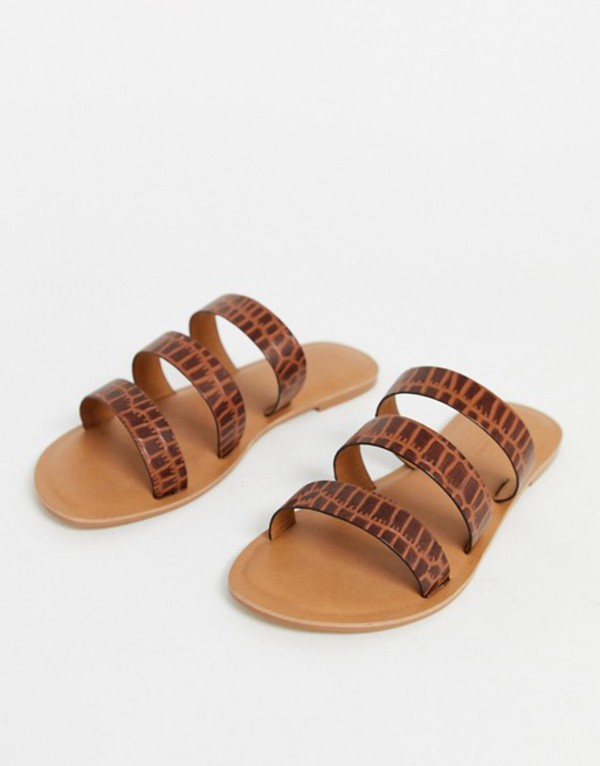 エイソス レディース サンダル シューズ ASOS DESIGN Farren leather flat sandals in brown croc Brown croc