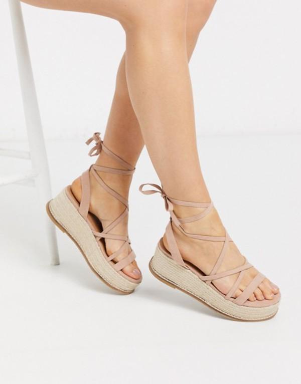 エイソス レディース サンダル シューズ ASOS DESIGN Tabby flatform tie leg sandals in beige Beige