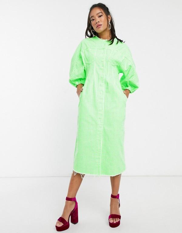 エイソス レディース ワンピース トップス ASOS DESIGN denim gingham midi dress with puff sleeves Green