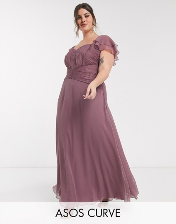 エイソス レディース ワンピース トップス ASOS DESIGN Curve Bridesmaid short sleeve ruched maxi dress Dusty mauve