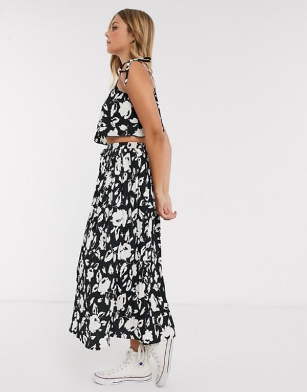 エイソス レディース スカート ボトムス ASOS DESIGN maxi crinkle column skirt in mono floral print two-piece Mono floral print