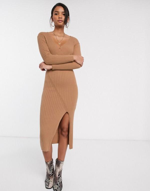 エイソス レディース ワンピース トップス ASOS DESIGN knit rib midi dress with wrap detail Camel