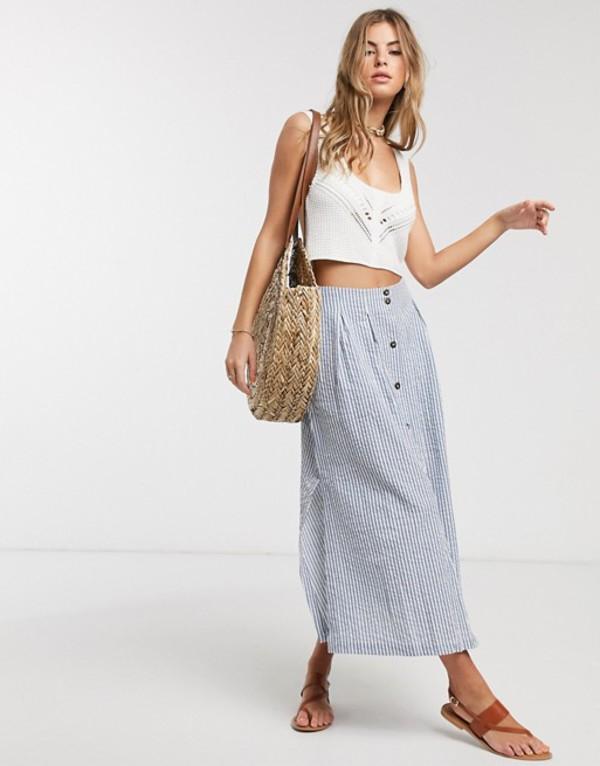 エイソス レディース スカート ボトムス ASOS DESIGN button front seersucker midi skirt in blue stripe Blue stripe