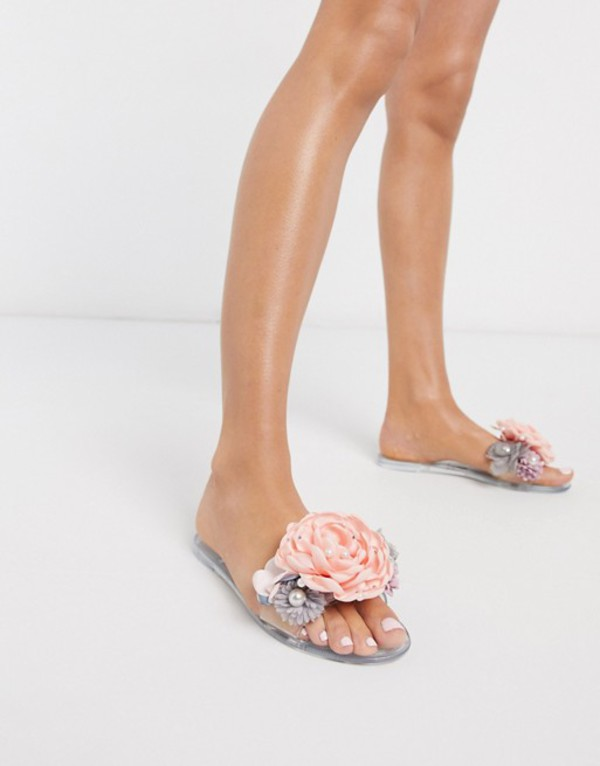 エイソス レディース サンダル シューズ ASOS DESIGN Florist pearl jelly sliders Clear