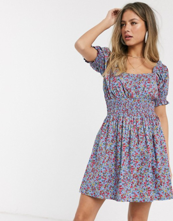 エイソス レディース ワンピース トップス ASOS DESIGN shirred waist square neck cotton mini smock dress in ditsy floral print Light based floral
