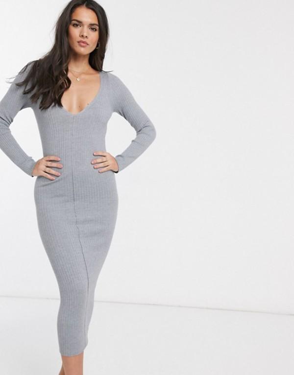 エイソス レディース ワンピース トップス ASOS DESIGN v neck rib knitted midi dress Gray marl
