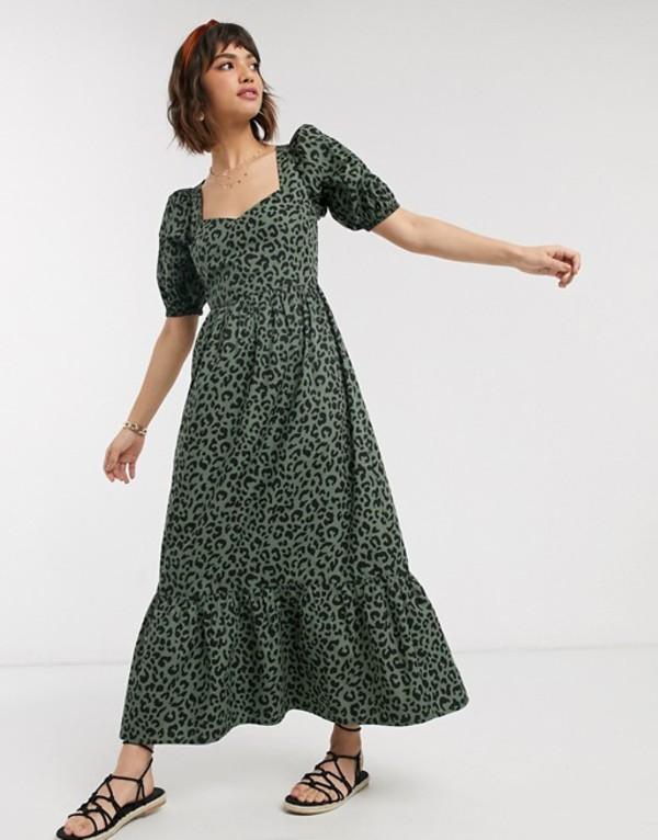 エイソス レディース ワンピース トップス ASOS DESIGN tiered maxi dress with puff sleeves and open back in leopard print Khaki leopard
