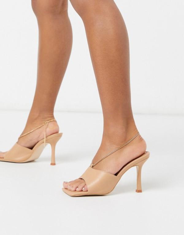 パブリックデザイア レディース サンダル シューズ Public Desire Treasure square toe sandal with anklet detail in beige Beige pu