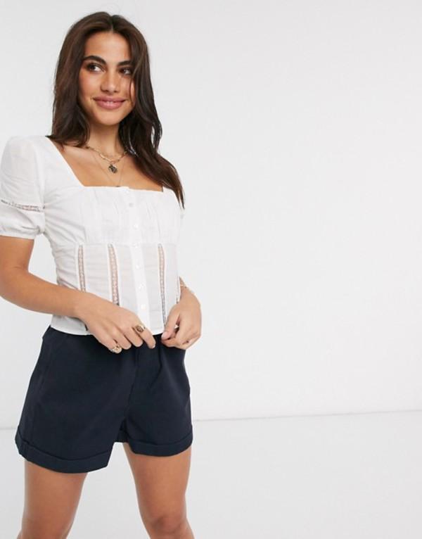 ファッションモンキー レディース シャツ トップス Fashion Union milkmaid top with lace detail White cotton