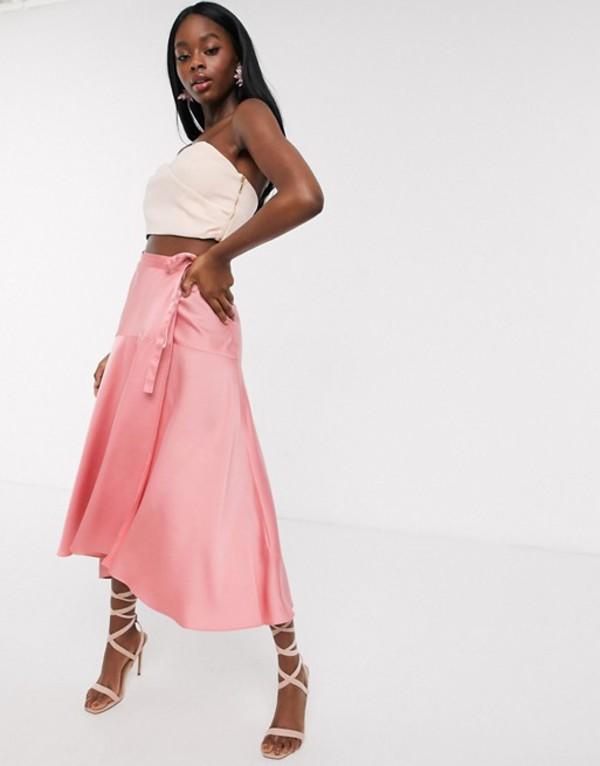エイソス レディース スカート ボトムス ASOS DESIGN satin maxi wrap skirt with tie waist detail in dusty rose Dusty rose