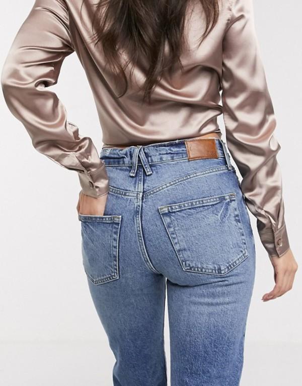 リバーアイランド レディース デニムパンツ ボトムス River Island straight leg jeans in blue Mid wash
