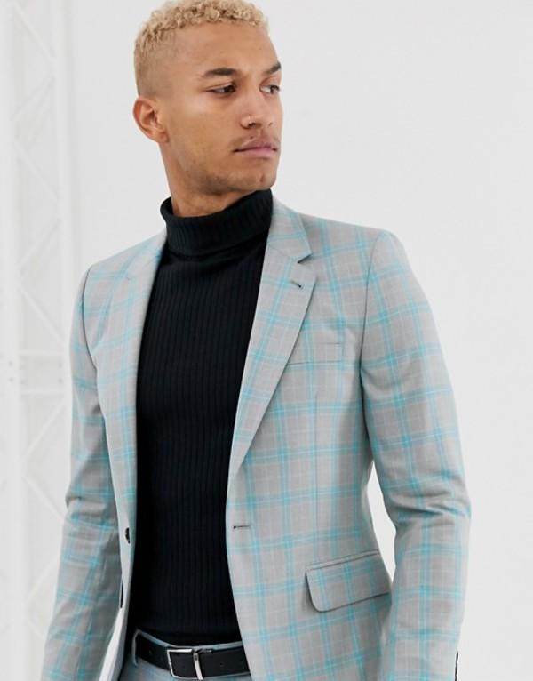 エイソス メンズ ジャケット・ブルゾン アウター ASOS DESIGN skinny suit jacket in color pop gray check Gray