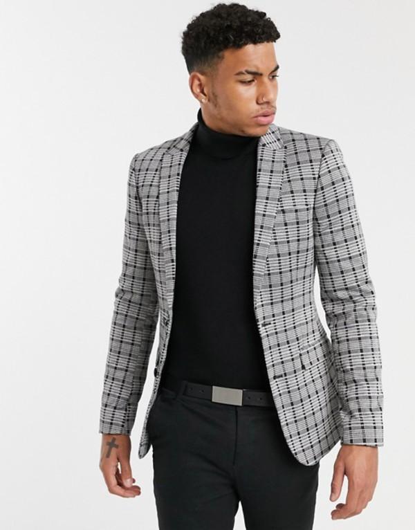 エイソス メンズ ジャケット・ブルゾン アウター ASOS DESIGN super skinny blazer in gray tonal check jersey Gray
