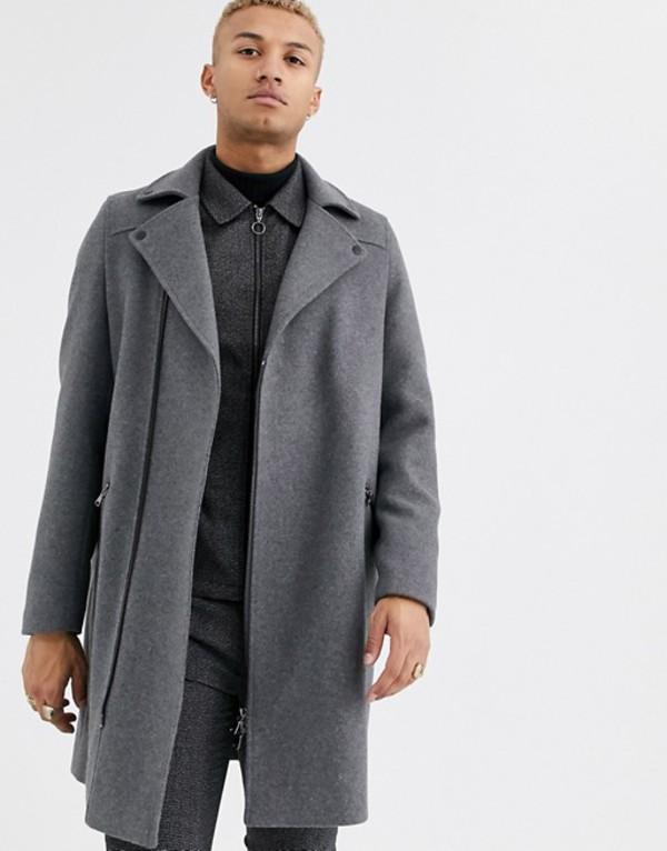 エイソス メンズ コート アウター ASOS DESIGN wool mix overcoat in gray with biker detailing Gray