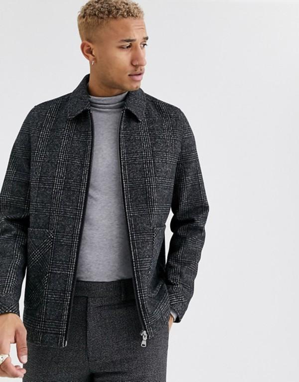 エイソス メンズ ジャケット・ブルゾン アウター ASOS DESIGN wool mix harrington jacket in gray check Black