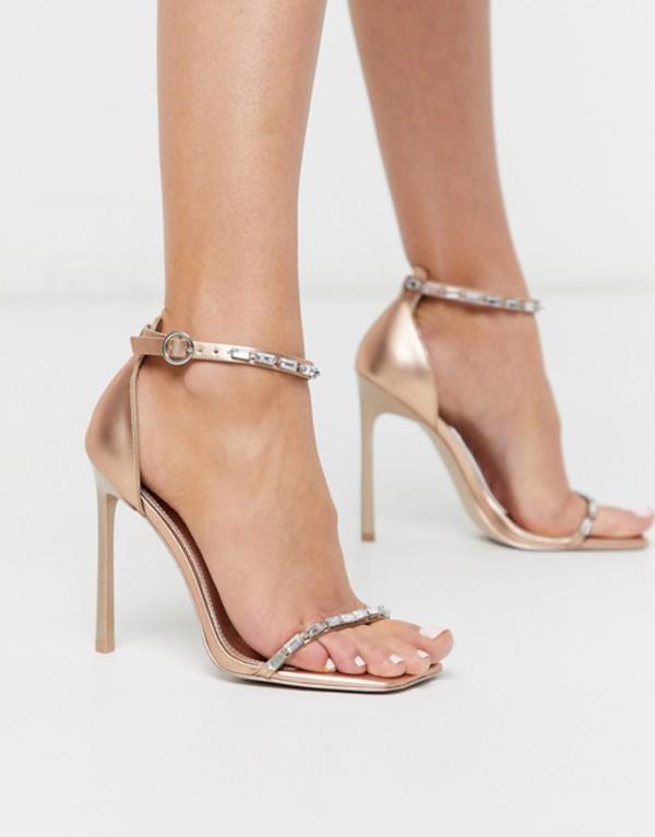 エイソス レディース サンダル シューズ ASOS DESIGN Nadiya embellished barely there heeled sandals in rose gold Rose gold