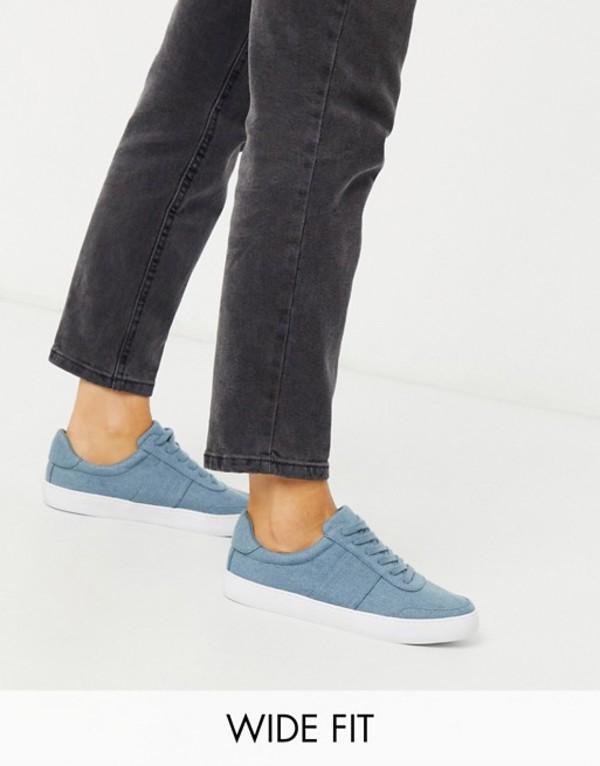 エイソス レディース スニーカー シューズ ASOS DESIGN Wide Fit Dime lace up sneakers in denim Denim