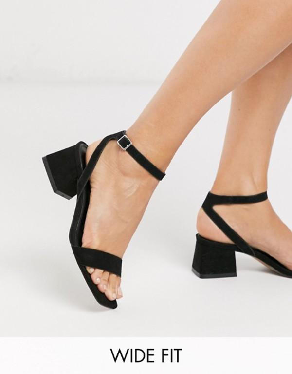 エイソス レディース サンダル シューズ ASOS DESIGN Wide Fit Hocco block heeled sandals in black Black