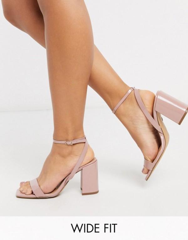 エイソス レディース サンダル シューズ ASOS DESIGN Wide Fit Havana barely there block heeled sandals in beige patent Beige patent
