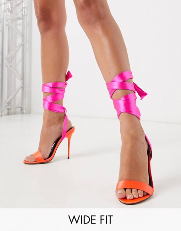 エイソス レディース サンダル シューズ ASOS DESIGN Wide Fit Walton stiletto heeled sandlas in pink Hot pink mix
