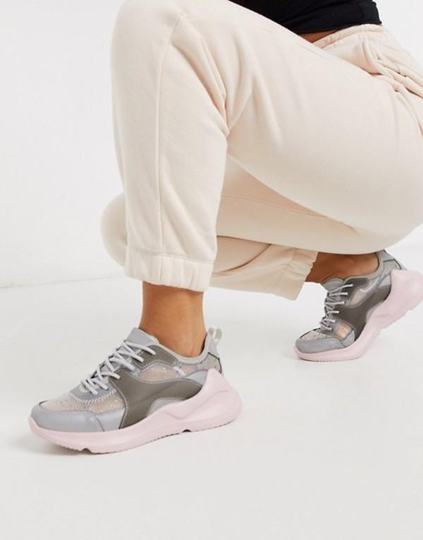 エイソス レディース スニーカー シューズ ASOS DESIGN Delhi sneakers in gray and pink Gray/pink