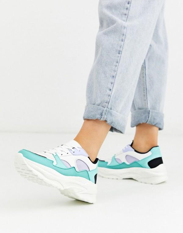 エイソス レディース スニーカー シューズ ASOS DESIGN Degree chunky sneakers in mint and lilac White/mint/lilac