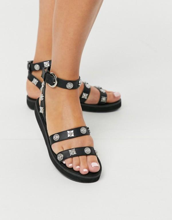 エイソス レディース サンダル シューズ ASOS DESIGN Flavour western sandal in black Black