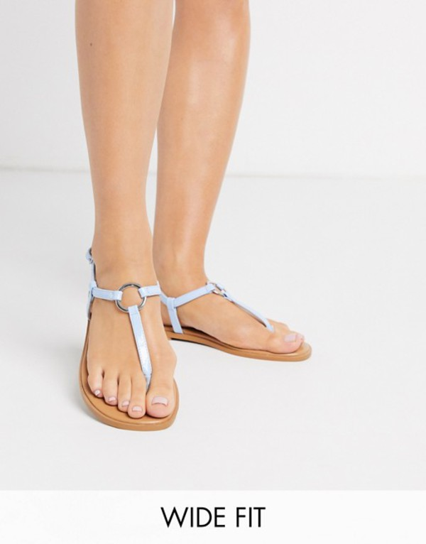 エイソス レディース サンダル シューズ ASOS DESIGN Wide Fit Valentina ring flat sandals in blue Blue