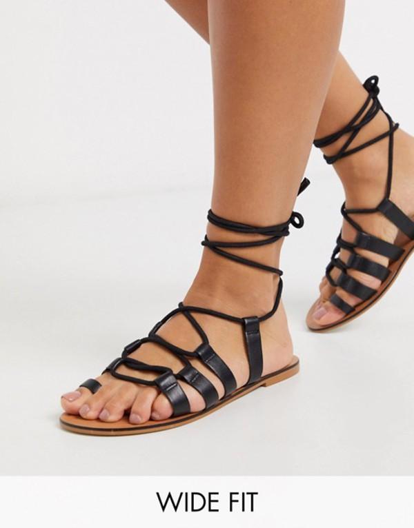 エイソス レディース サンダル シューズ ASOS DESIGN Wide Fit Violet leather tie leg gladiator sandals in black Black