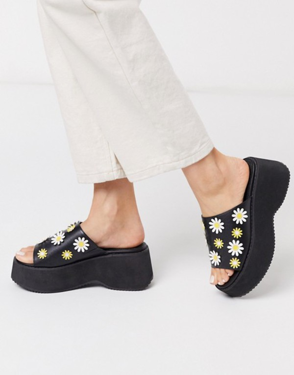 エイソス レディース サンダル シューズ ASOS DESIGN Torin chunky daisy flatform in black Black