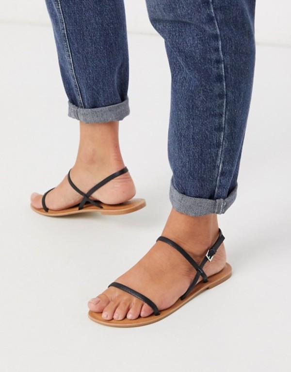 エイソス レディース サンダル シューズ ASOS DESIGN Fuse leather flat sandals in black Black