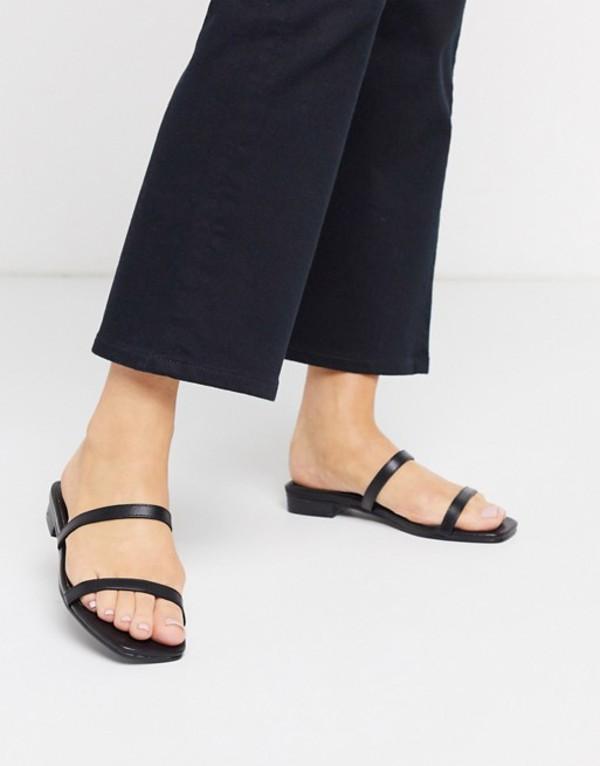 エイソス レディース サンダル シューズ ASOS DESIGN Fulwell minimal mule sandals in black Black