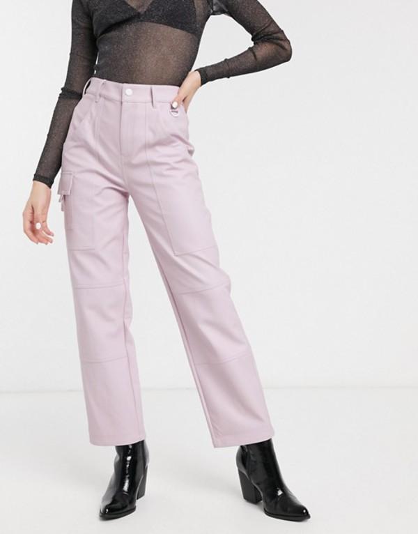 エイソス レディース カジュアルパンツ ボトムス ASOS DESIGN PU carpenter in pink Pink