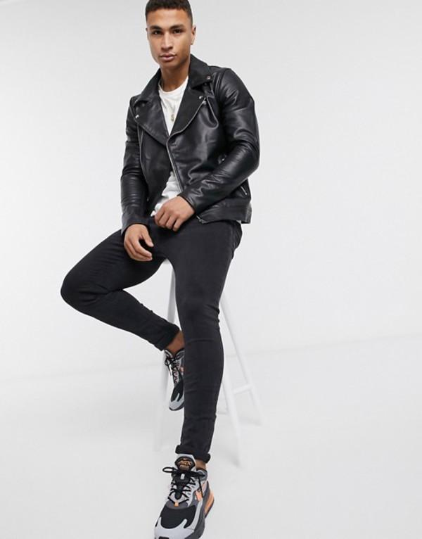 ソウルスター メンズ ジャケット・ブルゾン アウター Soul Star leather jacket in black Black