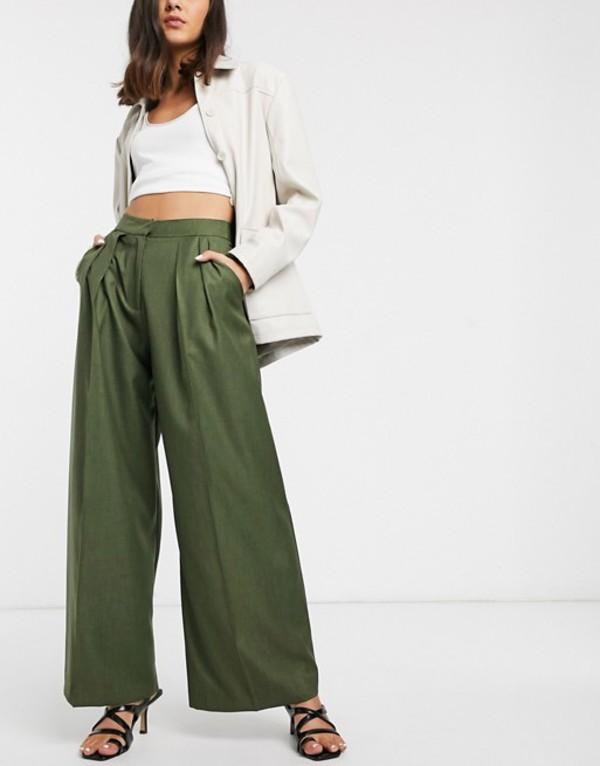 エイソス レディース カジュアルパンツ ボトムス ASOS WHITE pleat front pants Green