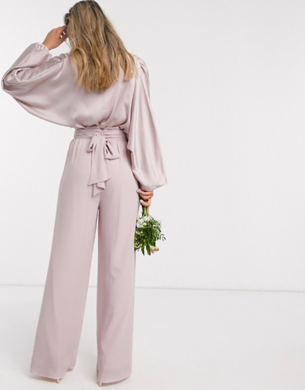 ティエフエヌシー レディース カジュアルパンツ ボトムス TFNC bridesmaids wide leg pants with ruffle waist detail and belt in pink Pink