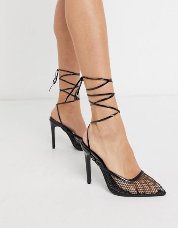 パブリックデザイア レディース ヒール シューズ Public Desire Fiesty mesh ankle tie heeled shoe in black Black