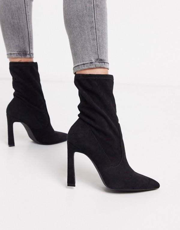 ミスセルフフリッジ レディース ブーツ・レインブーツ シューズ Miss Selfridge heeled sock boots in black Black