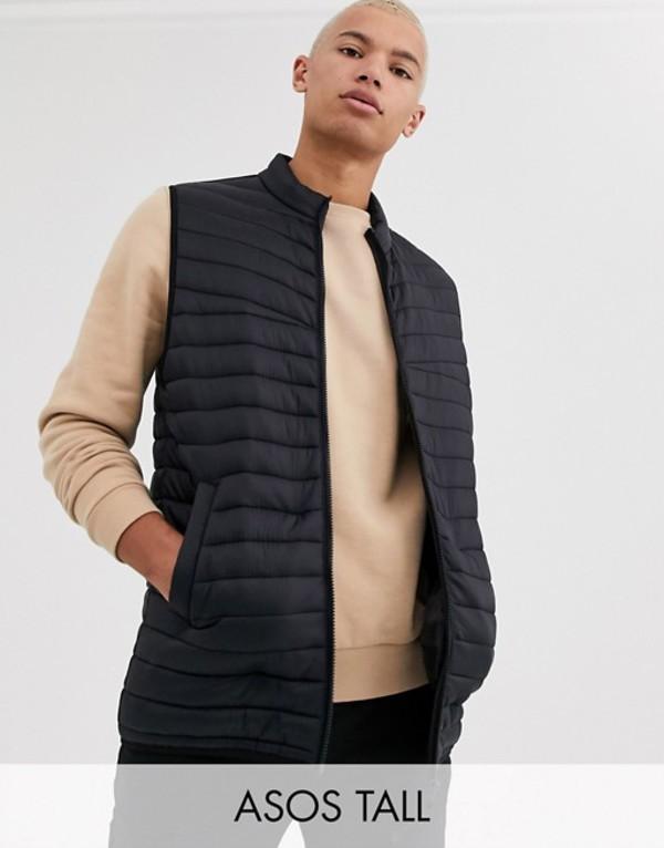 エイソス メンズ タンクトップ トップス ASOS DESIGN Tall puffer vest in black Black