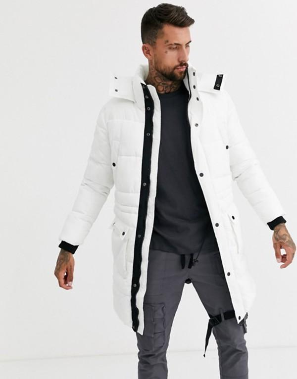 ブーフーマン メンズ コート アウター boohooMAN longline puffer jacket in white White
