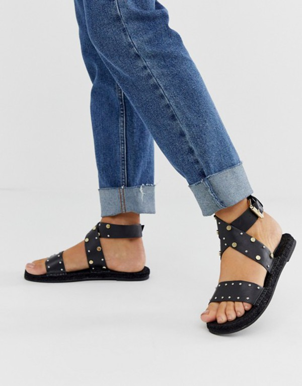 エイソス レディース サンダル シューズ ASOS DESIGN Jerry studded leather espadrille sandals in black Black