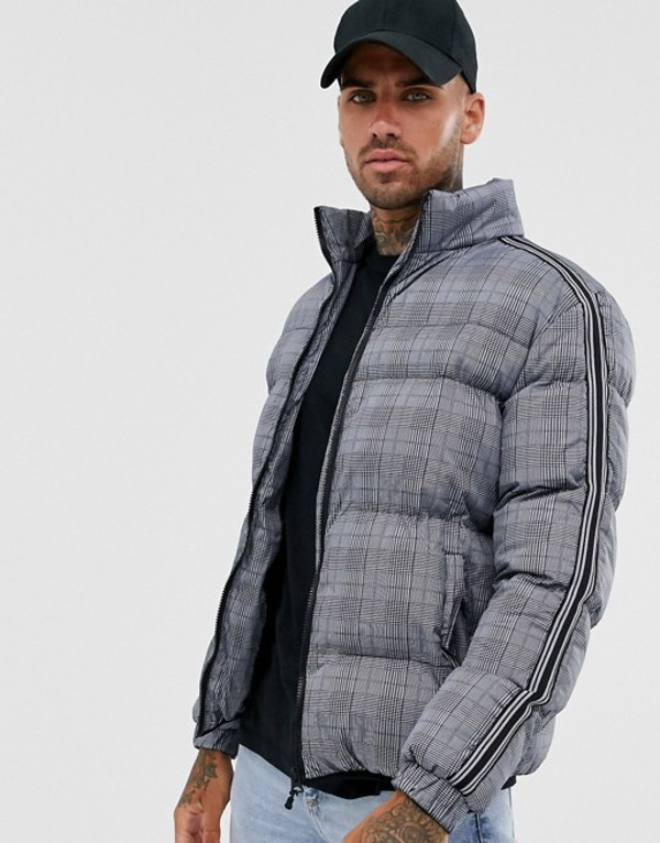 ブレーブソウル メンズ ジャケット・ブルゾン アウター Brave Soul check puffer jacket in gray Gray