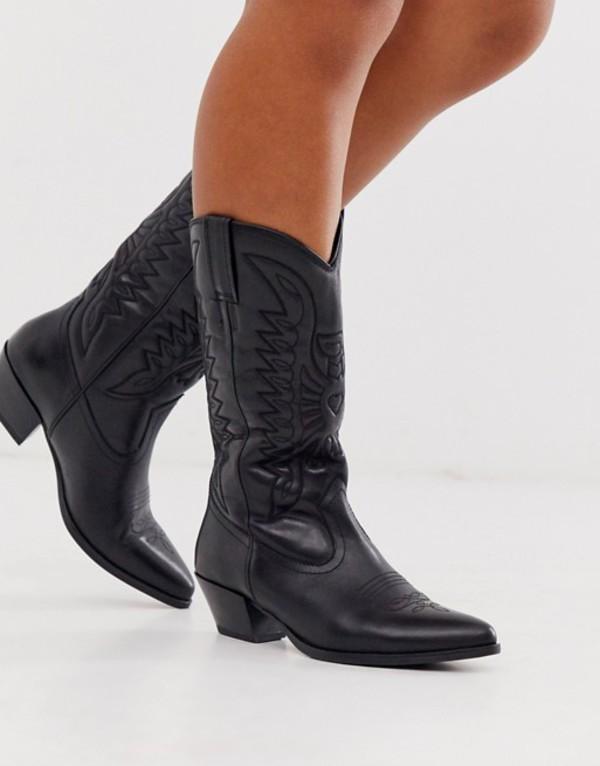 バガボンド レディース ブーツ・レインブーツ シューズ Vagabond Emily western knee high mid ankle boot in black leather Black leather